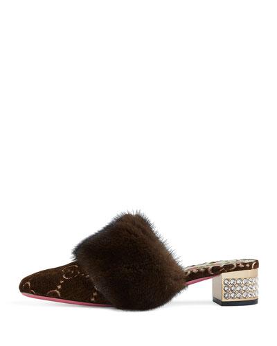 Candy GG Velvet Fur-Trim Mule