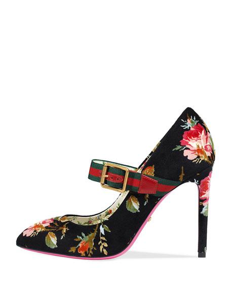 Sylvie Velvet Mary Jane Pumps - Black Size 9.5