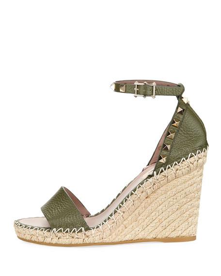 18f65f85be3 Valentino Garavani Rockstud Leather Espadrille Wedge Sandal