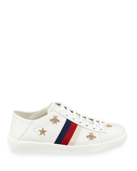 Gucci Ace Star & Bee Fold-Down Sneakers