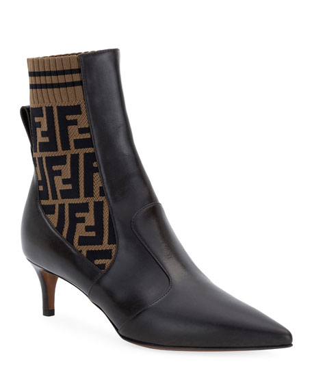 FENDI Rockoko Leather/Ff Knit 50Mm Booties, Black/Brown