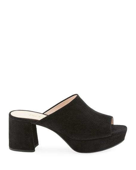 Suede Platform Slide Sandals