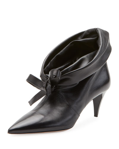 Fold-Down Leather Booties