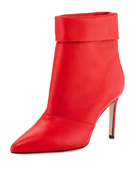Banner Fold-Over Leather Booties, Red