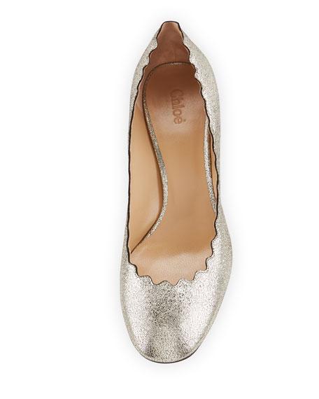 Lauren 50mm Scalloped Metallic Leather Block-Heel Pumps