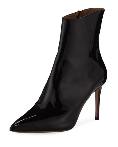 Alma Patent Leather Pointed Booties