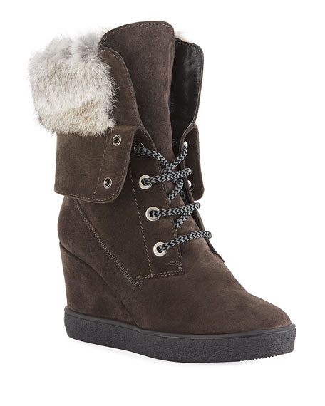 Image 1 of 1: Cordelia High Wedge Boots w/ Fur Trim