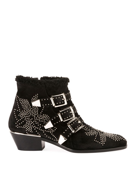 Susan Short Studded Shearling-Lined Boots