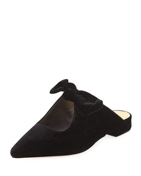 EVELYN FLAT VELVET MULES WITH CLARITA BOW