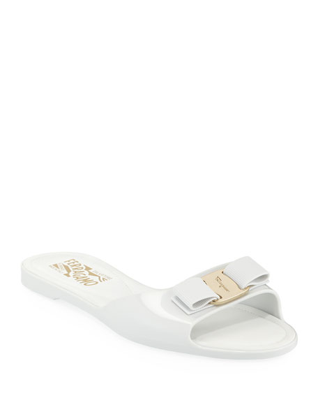 Image 1 of 1: Cirella Flat PVC Jelly Bow Slide Sandals, White