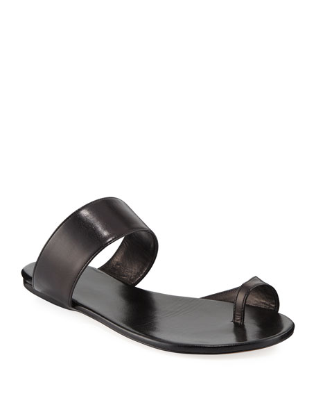 Image 1 of 1: Infradito Flat Leather Toe-Strap Slide Sandals