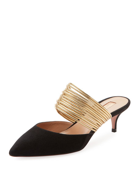 Image 1 of 1: New Rendez Vous Strappy Kitten-Heel Mules