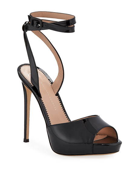 Image 1 of 1: Ankle-Wrap Patent Stiletto Sandals