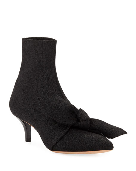 Image 1 of 1: Kassidy Stretch Kitten-Heel Booties with Bow