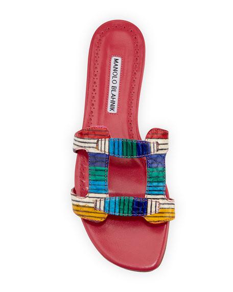Grella Multicolor Snakeskin Slide Sandals