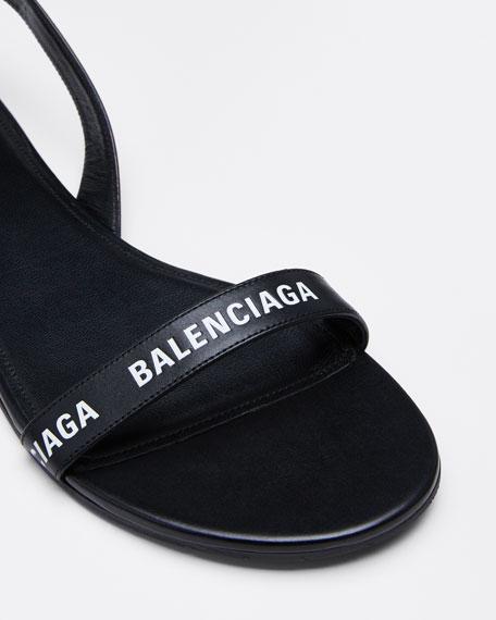 Logo Flat Leather Sandals
