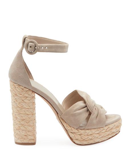 Suede and Raffia Platform Sandals