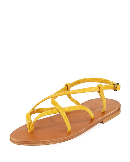 Image 1 of 1: Bleuet Strappy Suede Flat Sandals