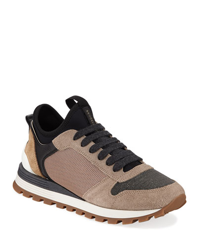 Monili Beaded Suede Lace-Up Sneakers