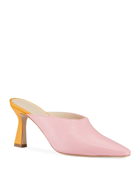Image 1 of 1: Lotte Mid-Heel Leather Mules