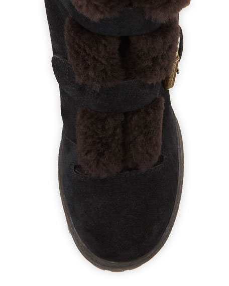 Fur-Lined Double Buckle Boots