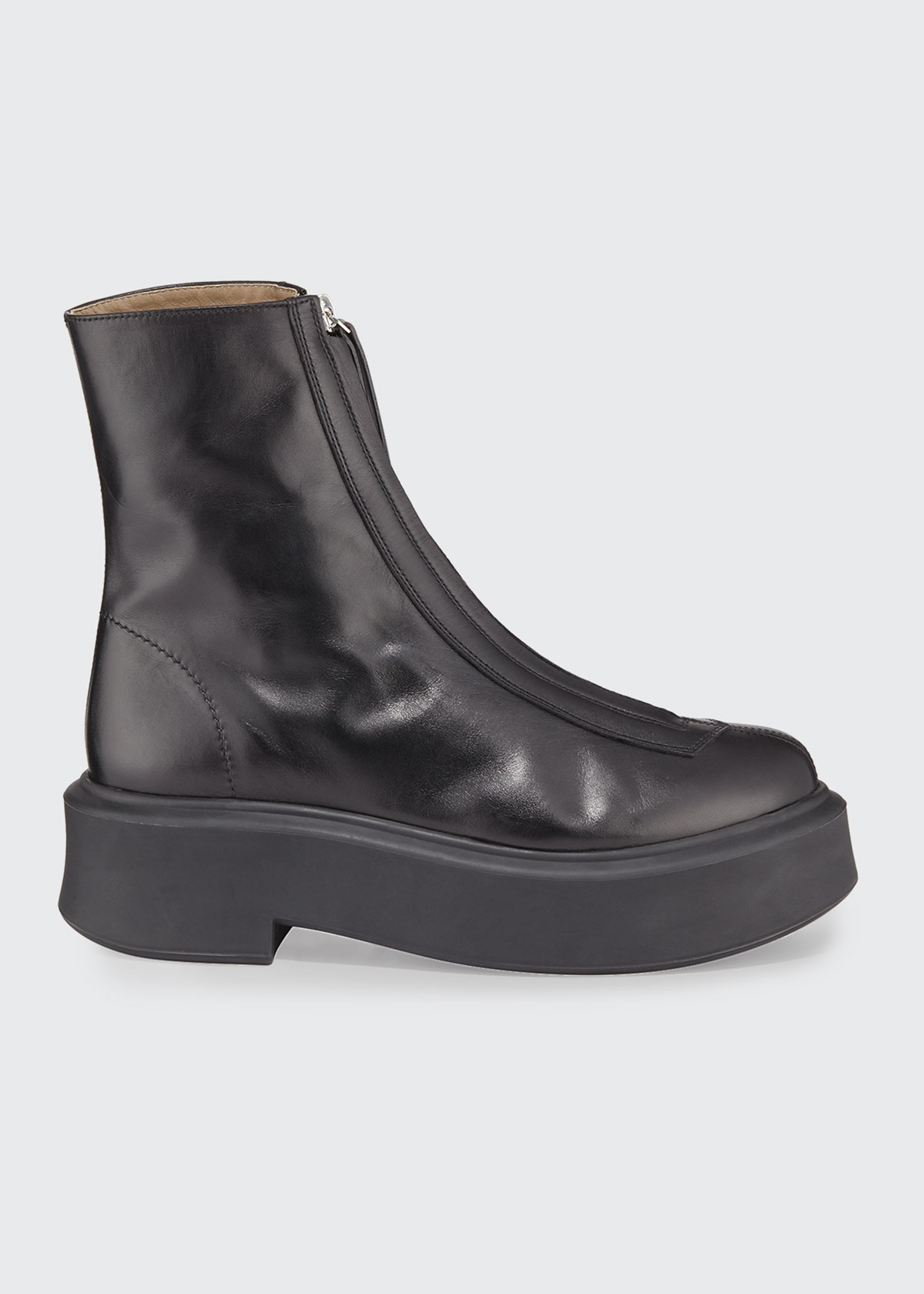 Zipped Boots in Leather by The Row, available on bergdorfgoodman.com for $1290 Kourtney Kardashian Shoes Exact Product