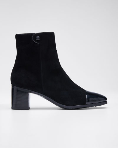 Velukid Suede Patent-Toe Booties