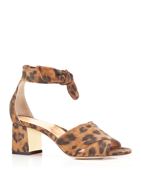 Bella Leopard Suede Crisscross Ankle-Tie Sandals
