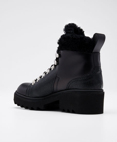 Bella Leather Fur-Lined Hiker Booties