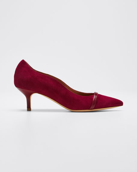 Image 1 of 1: Maybelle 45mm Scalloped Suede Pumps