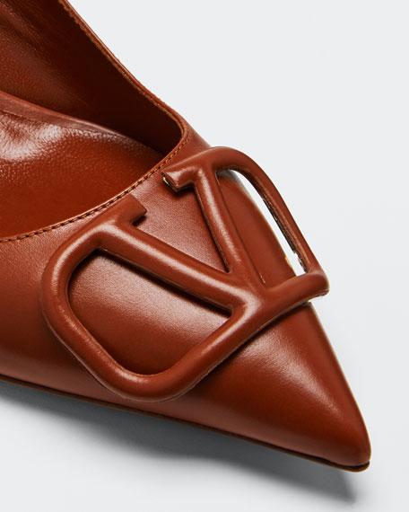 Tonal Logo Leather Pumps