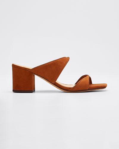 Miki Suede/Leather Twist Slide Sandals