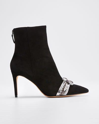 Vicky Suede and Exotic Python Booties
