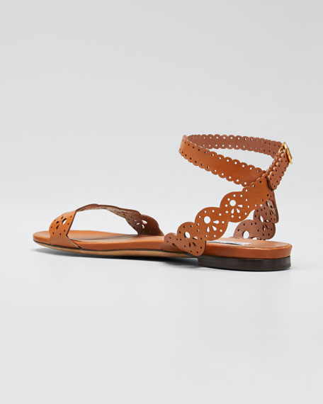 Bobbin Cutout Flat Sandals