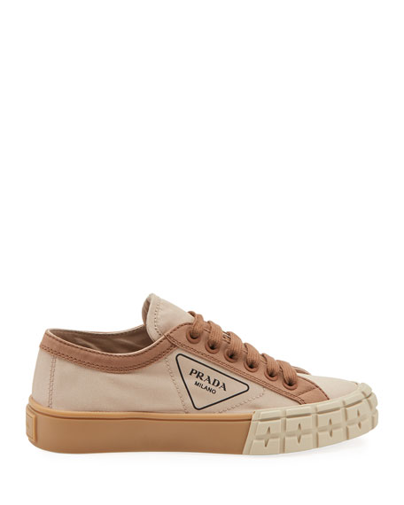 Low-Top Chunky Sneakers with Triangle Logo