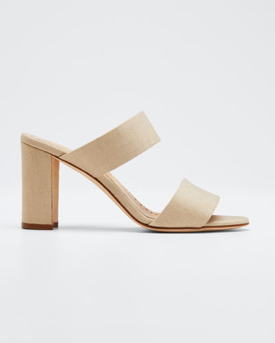 Kalita Woven Block-Heel Slide Sandals