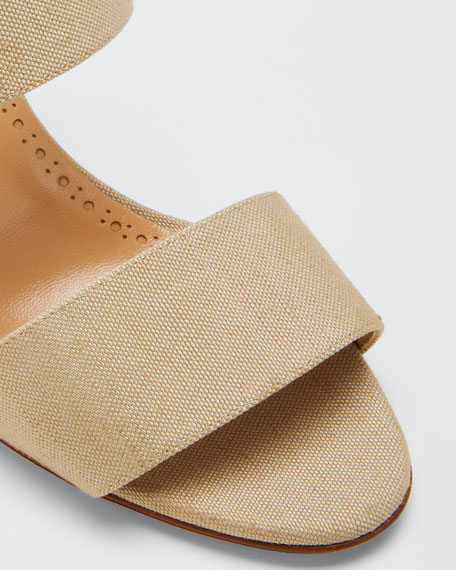 Kalita Woven Block-Heel Slide Sandals