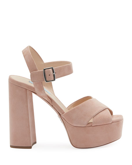 Suede Platform Crisscross Sandals