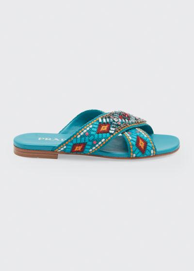 Jeweled Jacquard Flat Sandals
