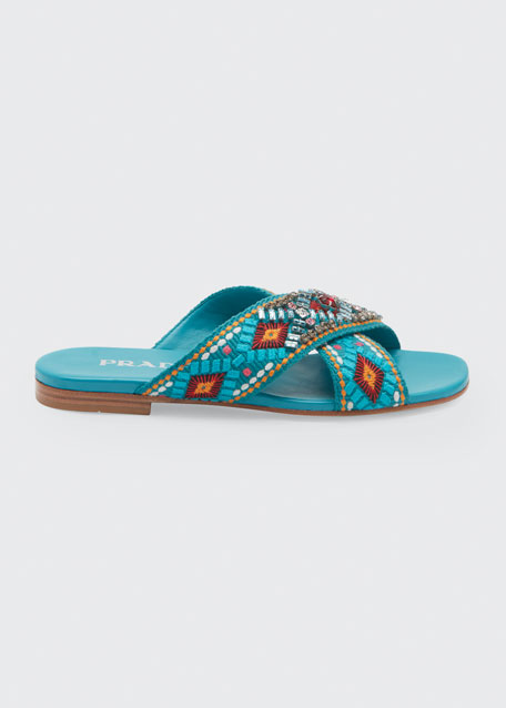 Image 1 of 1: Jeweled Jacquard Flat Sandals