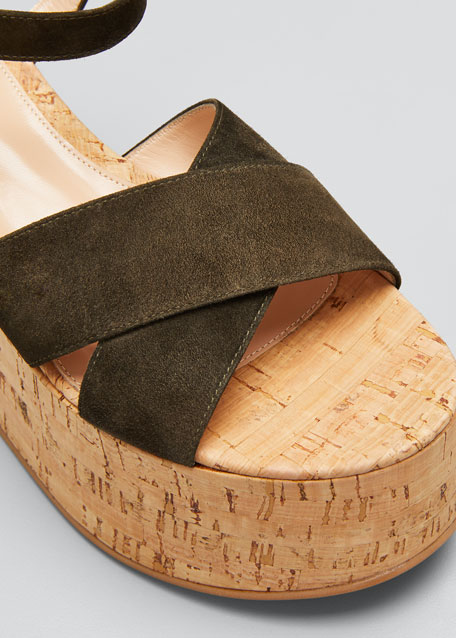 20mm Cork Flatform with Suede Sandals