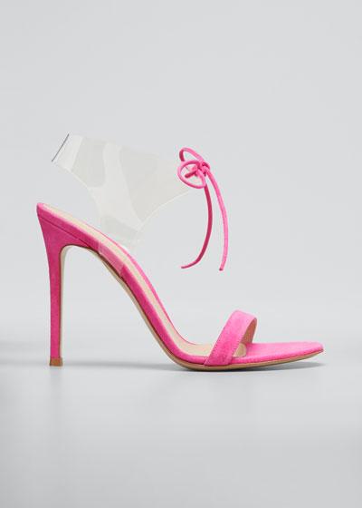 Suede Sandals with Plexi Strap