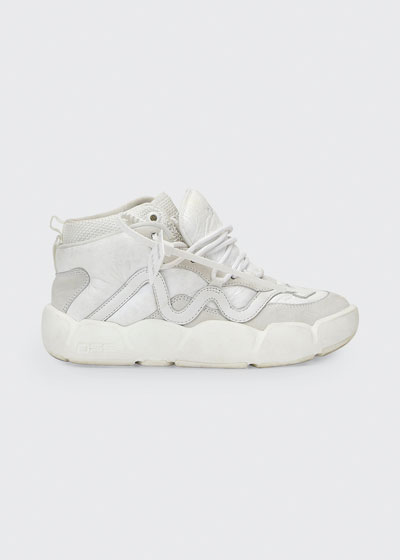 Optic Mixed Faux-Leather Basket Sneakers