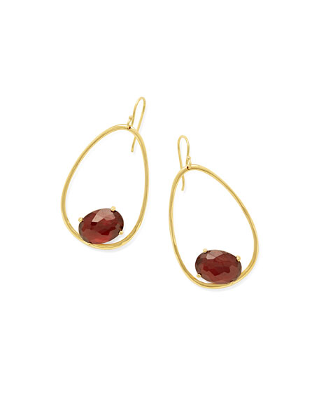 18K Rock Candy Tipped Oval Wire Earrings in Garnet
