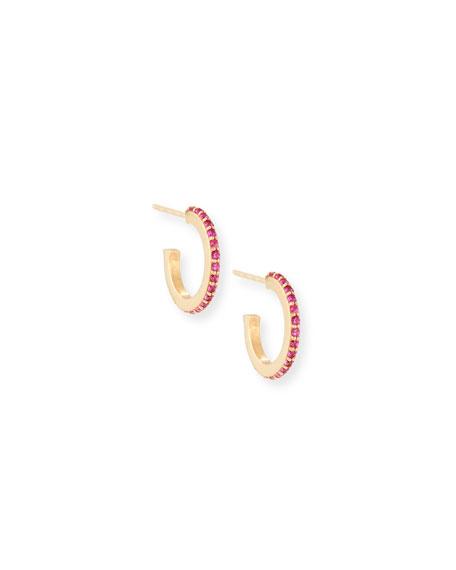 Girls' Pink Sapphire Huggie Hoop Earrings