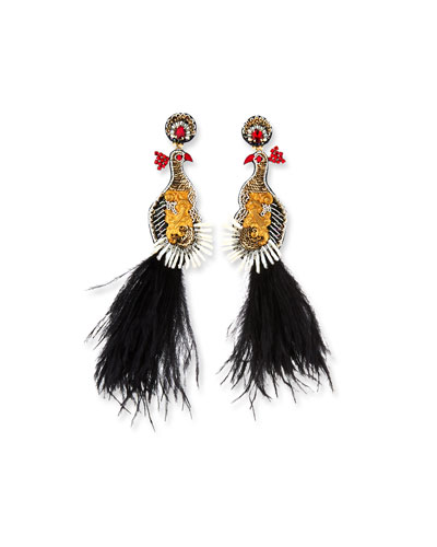 Teresa Peacock Dangle Earrings