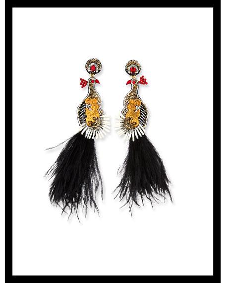 Teresa Peacock Dangle Earrings