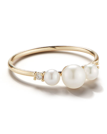 Image 1 of 1: 14k Gold 3-Pearl & Diamond Ring, Size 7