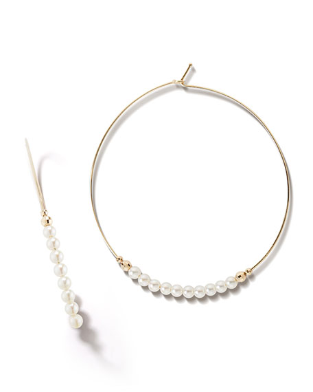 14k Gold Large Pearl Hoop Earrings
