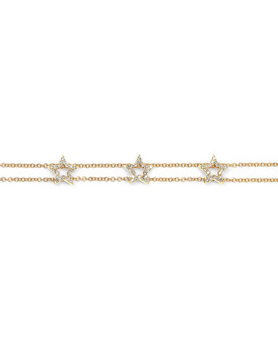 14k Gold Triple Diamond Open Star Bracelet